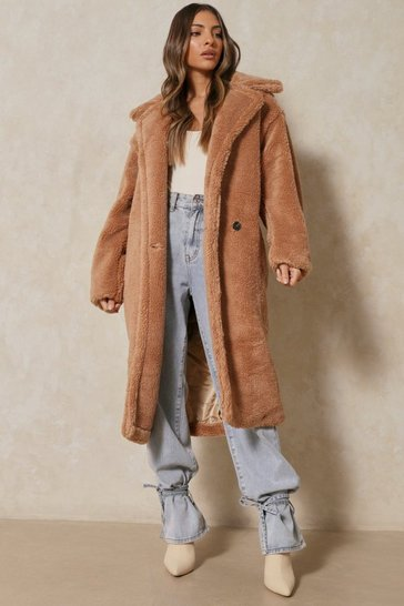 Womens Camel Oversized Teddy Coat