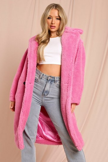 Fushia Oversized Teddy Coat