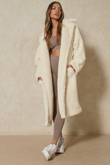 Womens Ivory Oversized Teddy Coat