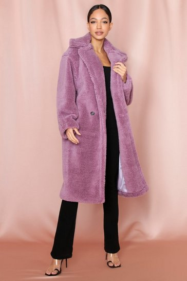 Womens Lilac Oversized Teddy Coat