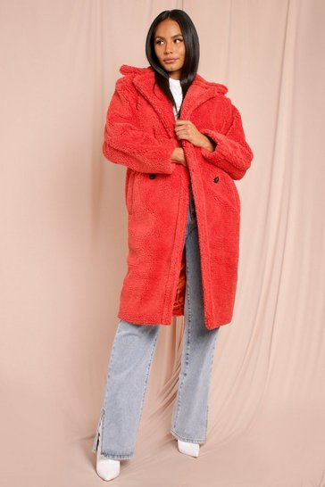 Womens Orange Oversized Teddy Coat