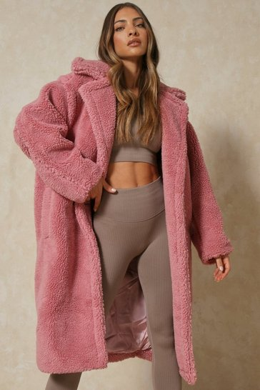 Womens Pink Oversized Teddy Coat