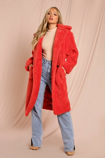 Red Oversized Teddy Coat
