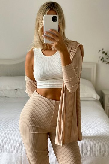 Camel Wrap Back Cardigan & Legging Co Ord