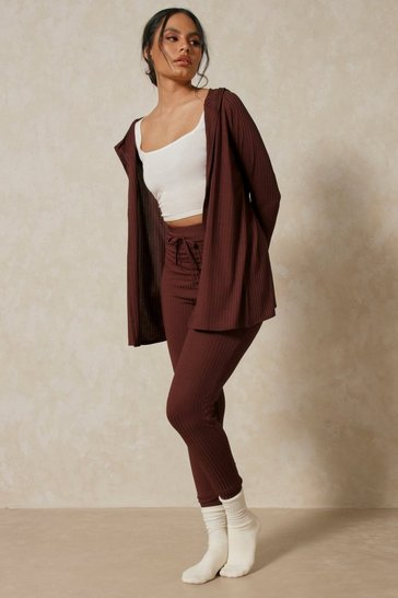 Chocolate Wrap Back Cardigan & Legging Co Ord