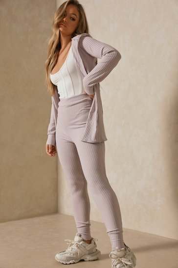 Grey Wrap Back Cardigan & Legging Co Ord