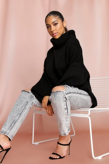 Womens Black Turtle neck oversized jumper