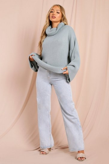 Blue Turtle Neck Oversized Jumper