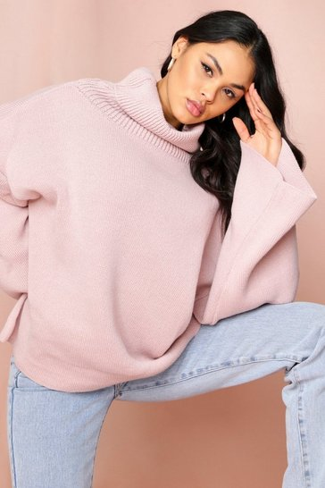 Womens Blush Turtle neck oversized jumper