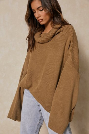 Womens Camel Turtle neck oversized jumper