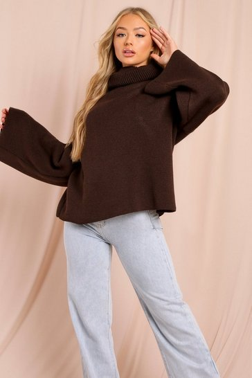 Chocolate Turtle Neck Oversized Jumper
