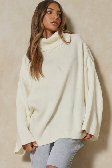 Womens Cream Turtle Neck Oversized