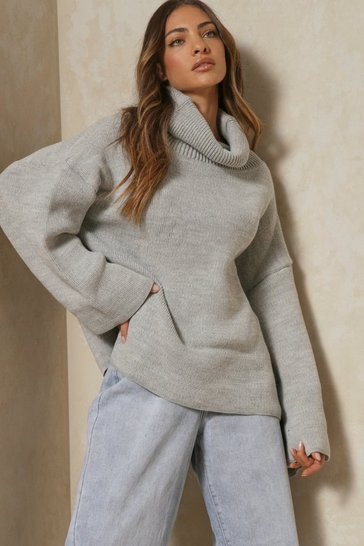Womens Grey Turtle neck oversized jumper