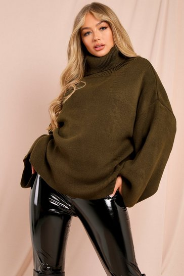 Womens Khaki Turtle Neck Oversized