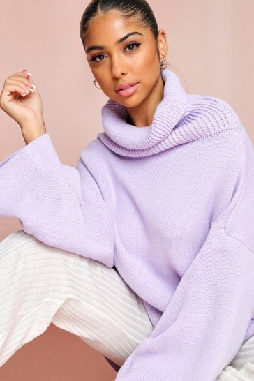 Lilac Turtle Neck Oversized Sweater