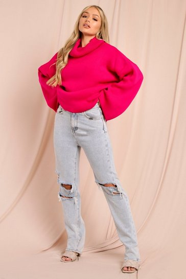 Womens Magenta Turtle neck oversized jumper