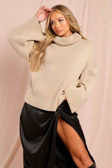 Stone Turtle Neck Oversized Jumper