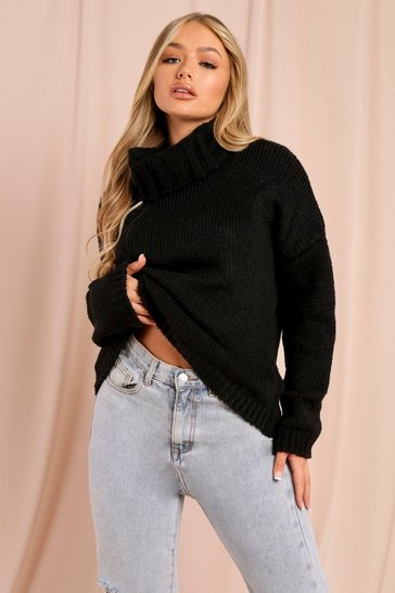 Womens Black Oversized Turtle Neck Jumper