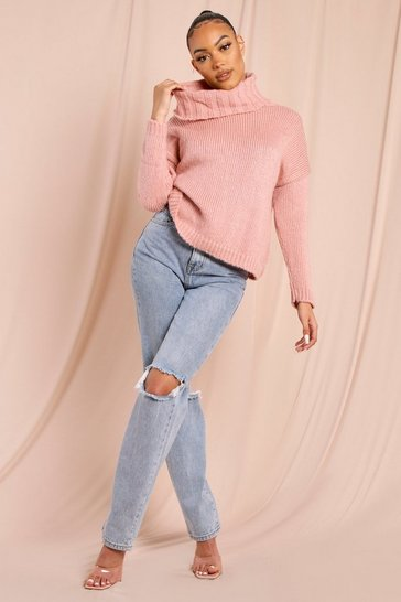 Womens Blush Oversized Turtle Neck Jumper