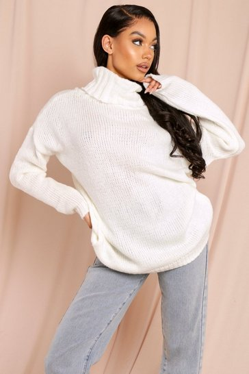 Womens Cream Fluffy oversized jumper