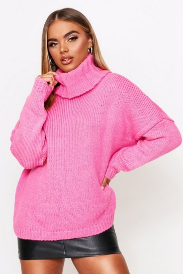 Womens Fuchsia Oversized Turtle Neck Jumper