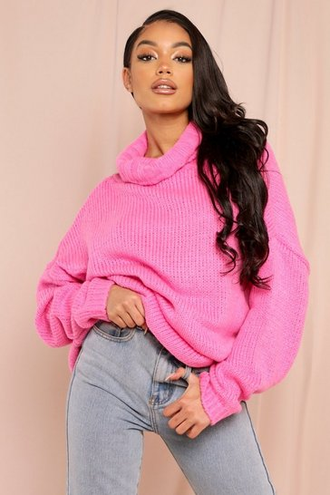 Womens Fushia Fluffy oversized jumper