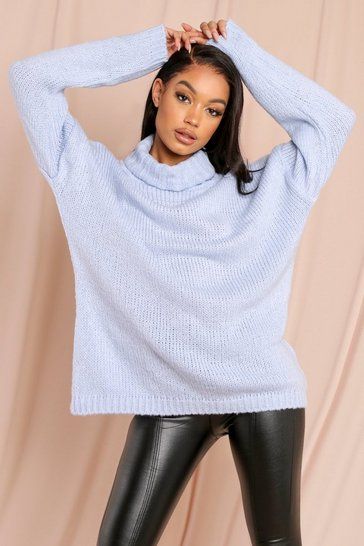 Womens Powder blue Fluffy oversized jumper