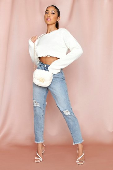 Womens Cream Knitted crop jumper