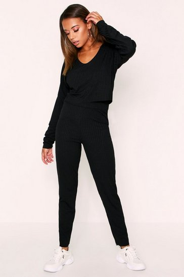 Womens Black Sofia Scoope Neck Lounge Set