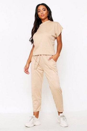 Womens Camel Sara Short Sleeve Boxy Loungewear