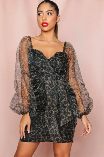 Womens Leopard Puff mesh sleeve dress