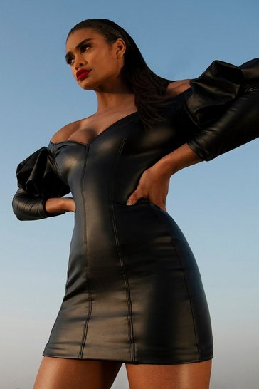 Black Bardot Puff Sleeve leather look Dress