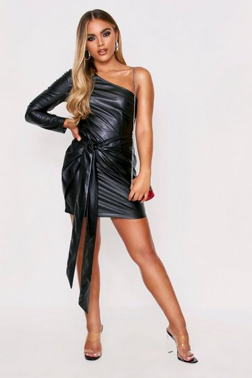 Womens Black One shoulder tie front dress