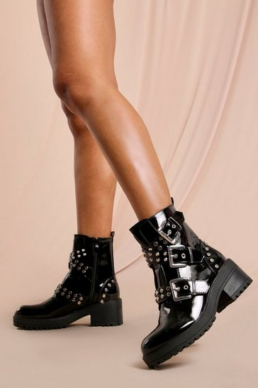 Womens Black Patent Studded Buckle Chunky Hiker Boots