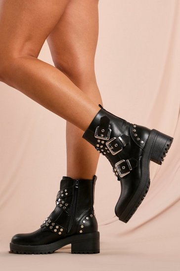 Womens Black Studded Buckle Chunky Hiker Boots