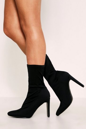 Womens Black Pointed Toe Flat Heel Stretch Sock Boots
