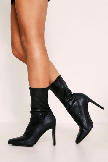 Black Pointed Toe Flat Heel Sock Boots