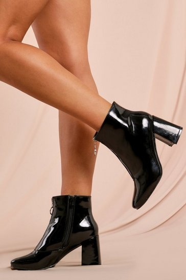 Black Patent Zip Front Block Heeled Ankle Boots