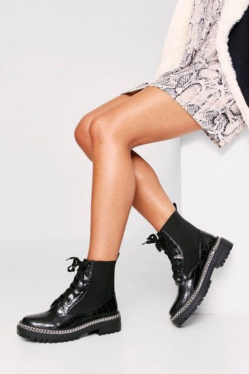 Womens Black Croc Chain Trim Worker Boots