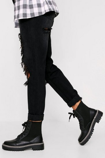 Womens Black Chain Trim Worker Boots