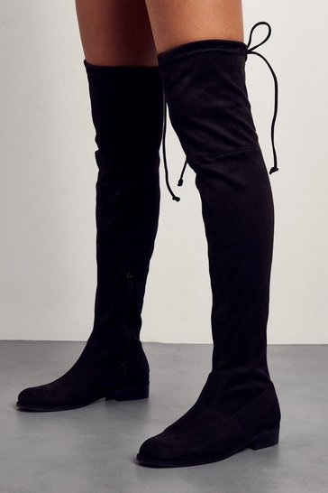 Womens Black Tie Back Flat Over The Knee Boots