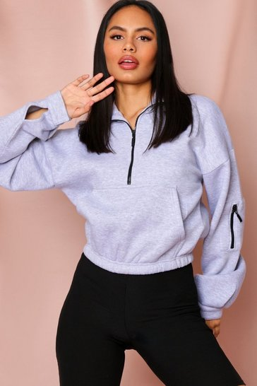 Womens Grey oversized sweat top with hood