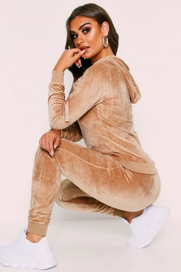 Womens Beige Velvet Hooded Loungewear Set