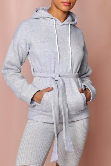 Grey Long Line Hooded Sweatshirt