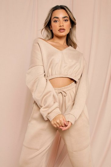 Sand Off The Shoulder Cropped Sweatshirt