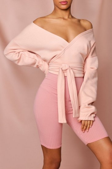 Blush wrap sweat top