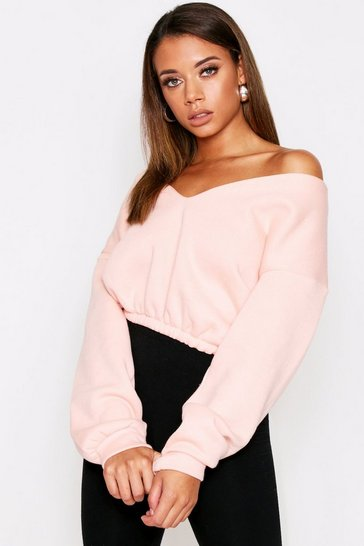 Womens Blush  off the shoulder sweat