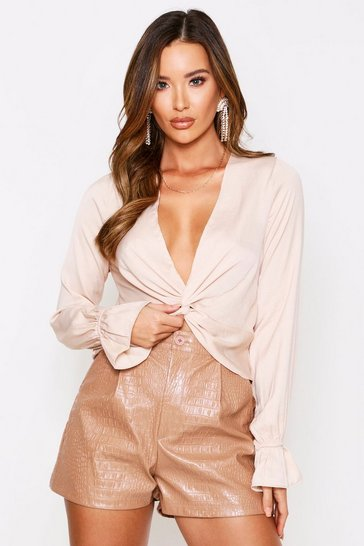 Womens Champagne Satin twist front top