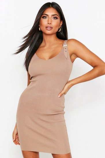 Beige Buckle detail knitted dress