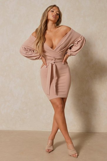 Stone Off Shoulder Plunge Wrap Mini Dress